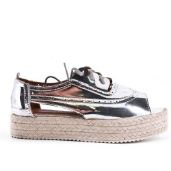 Silver espadrille in metallic faux leather