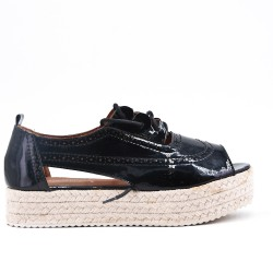 Black espadrille in metallic faux leather