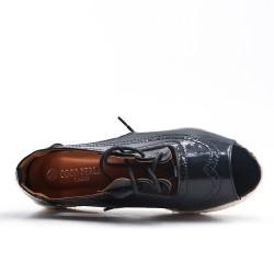 Espadrille noire en simili cuir métallisé