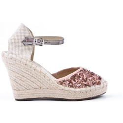 Sandale pailletée rose à semelle espadrille