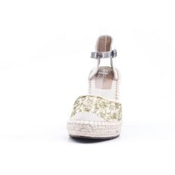 Sandale pailletée dorée à semelle espadrille