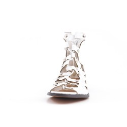 White faux leather flat sandal with lace