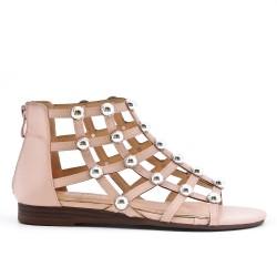 Sandale plate rose à perle