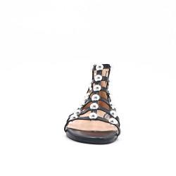 Sandale plate noire à perle