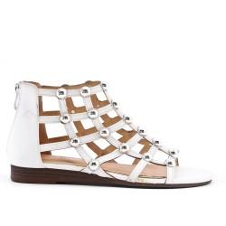 Sandale plate blanche à perle