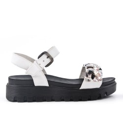 White comfort sandal with rhinestones