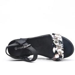 Sandalia negra confort con pedreria