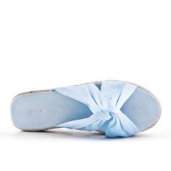 Claquette en toile bleu à nœud