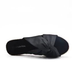 Claquette en toile noire à nœud