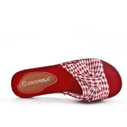 Claquette rouge en toile carreaux