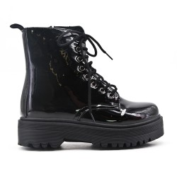 Black patent ankle boot