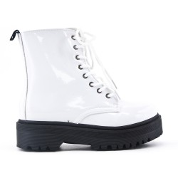 White patent ankle boot