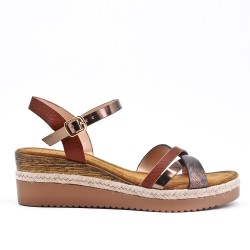 Brown faux suede sandal with small wedge