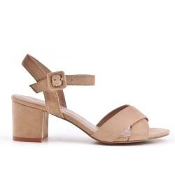 Sandalias de ante beige