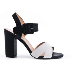 White imitation leather sandal with buckle