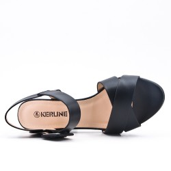 Black imitation leather sandal with buckle
