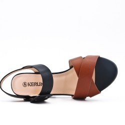 Camel imitation leather sandal with buckle