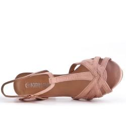 Sandale rose en simili daim à talon