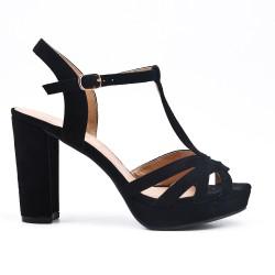 Sandale noire en simili daim à talon