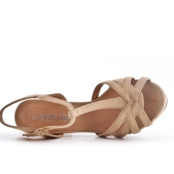 Beige faux suede sandals