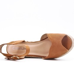 Wedge sandal camel faux suede