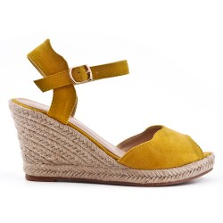 Sandalia cuña gamuza amarillo