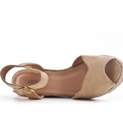 Wedge sandal khaki faux suede