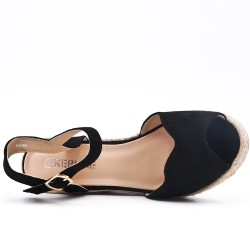 Wedge sandal black faux suede