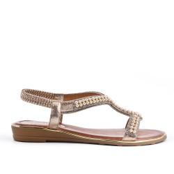 Sandalia de perlas oro