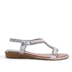 Sandale argent à perles