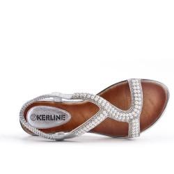 Sandalia de perlas plata