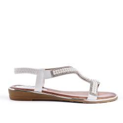Sandalia de perlas blanca