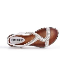 Sandale blanche à perles