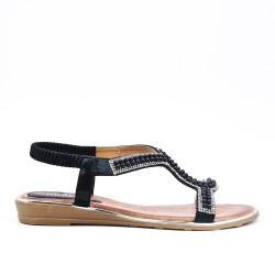Sandalia de perlas negras