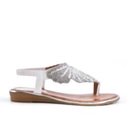 Sandalia de blanco con diamantes de imitación