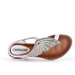 White sandal with rhinestones