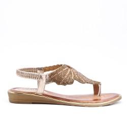 Sandalia de oro con diamantes de imitación