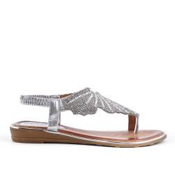 Sandalia de plata con diamantes de imitación