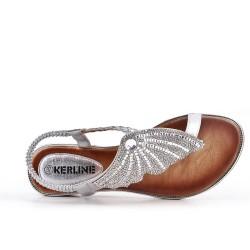 Sandale argent orné de strass
