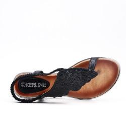 Sandalia negra con diamantes de imitación
