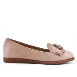 Beige moccasin in faux suede with bangs