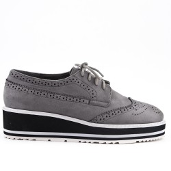 Gray lace-up brogue