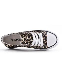 Tennis à lacet en toile léopard
