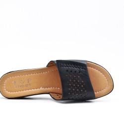 Claquette noire en simili cuir