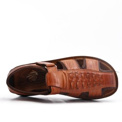Sandale homme camel en simili cuir