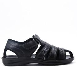 Sandale homme noire en simili cuir