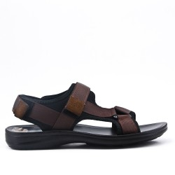 Brown men's sandal with bridles