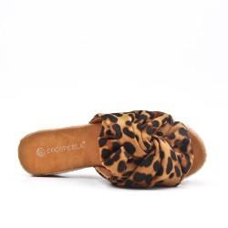 Claquette léopard à nœud