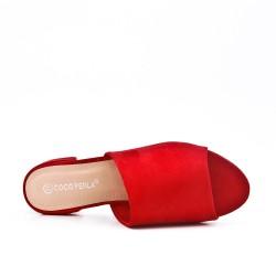 Claquette rouge à talon carré