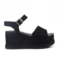 Sandale noire en simili daim avec plateforme